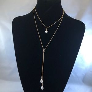 Dual faux pearl necklace